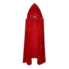 Velvet Halloween Costumes Cloaks Hood Cape Unisex Adult Cosplay Coats Red