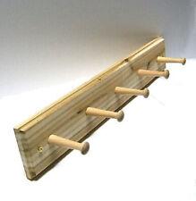 "Solid Cedar Wood Coat Rack 5 Shaker Pegs 20"" Wall Or Door Mount Hand Crafted"