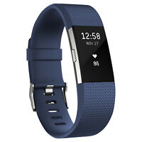 Fitbit Charge 2 Heart Rate and Fitness Tracking Large Wristband - Blue