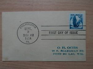 USA 1954 September 3 FDC Air Mail 4c Eagle in Flight #C48