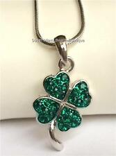 Silver Plated Green Crystal Shamrock Necklace Irish Clover Celtic Patricks Day