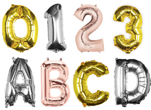 """Gold Silver Rose 16"""" inch Alphabet Number Letter Foil Birthday Party Balloon"""