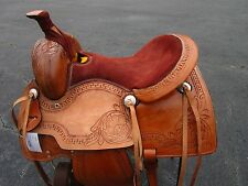 15 16 ROPING RANCH COWBOY PLEASURE FLORAL TOOLED LEATHER WESTERN HORSE SADDLE