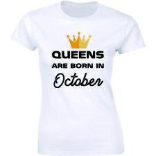 Queens Are Born In October Shirt Bday Party Gift Birthday Girl Women's T-shirt