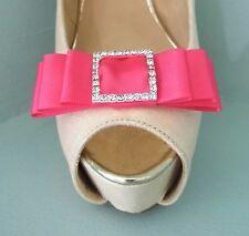 2 Cerise Rosa Raso Fiocco Clip per Scarpe Con Fibbia Con Diamante Centro