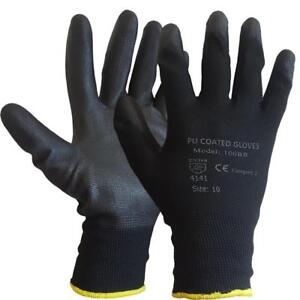 PAIRS NEW BLACK PU COATED WORK GLOVES BUILDERS MECHANIC CONSTRUCTION GRIP XL