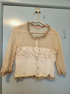 Lisa Ho cream and beige embroidered button down top in size 10