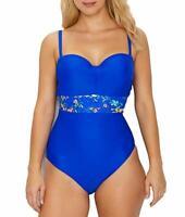 Panache COBALT FLORAL Florentine Bandeau Underwire One-Piece Swimsuit, US 38G