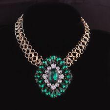 Vintage Big Emerald Green Crystal Pendant Chunky Statement Bib Necklace Choker