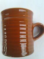 Vtg/Coffee Mug/Ceramic Cup/Hall China/USA/#2648/Rings/Brown/Matte