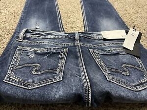 NWT SILVER JEANS ELYSE STRAIGHT NEW DESIGNER JEANS WOMENS SIZE 27