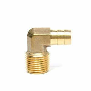"""1/2"""" Hose ID - 1/2"""" NPT Male Barbed Elbow Brass Fitting, Air, Water, Oil, Gas"""