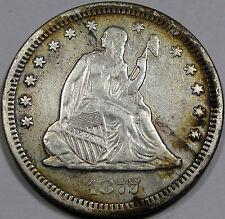 1877-CC Seated Liberty Quarter Dollar Nice EF-AU Coin... Light Album Toninng!!!!