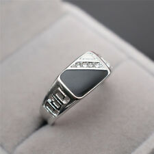 Fashion Classic 18K Gold White Sapphire Black Enamel Agate Rings Men's Jewelry