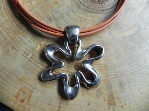 Simon Sebbag~Sterling Silver FLOWER Pendant on Orange/Brown Leather Necklace