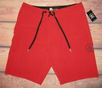 MENS VOLCOM SOLID RED SWIM BOARD SHORTS SIZE 36