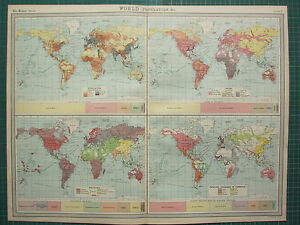 1921 LARGE MAP ~ WORLD POPULATION ~ RACES LANGUAGES OF COMMERECE RELIGIONS