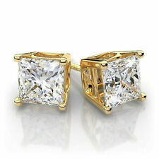 2Ct Princess Sparkle Moissanite Stud Screw Back Earrings 14K Yellow Gold Finish