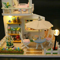 Doll House Made with real wood - Furniture Diy House kids Gift Surprise +1