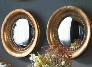 """Horchow Round Wall Mirror Set of 2 TWO, Rivets Antique Copper 17""""D Convex NEW"""