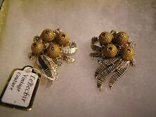 Vintage Gold Tone Clip-On Earrings, Rhinestones