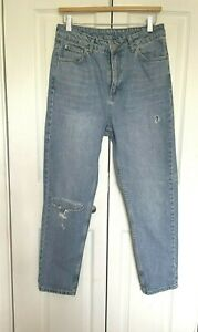 Topshop Moto High Waisted Tapered Ripped Faded Blue Jeans Size 12 W30 L26.5