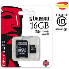 TARJETA MEMORIA 16GB KINGSTON CLASE 10 45MB/s MICROSD 16 GB MICRO SD 32 CLASS