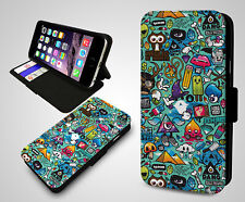 Quirky Sticker bomb Emoji Symbols Ice Lolly Leather Wallet Flip Phone Case Cover
