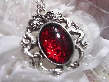 MEDIEVAL ruby RED GLITTER LARPING Dragons BREATH Dragon Silver Necklace Pendant