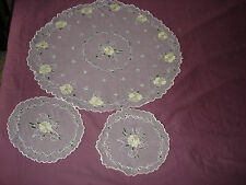 #233  Beautiful Vintage Hand-Embroidered Tulle Tablecloth