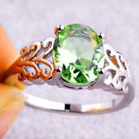 Clearance Sale Fashion Oval Cut Green Amethyst Gemstone Silver Ring Size 6 - 12