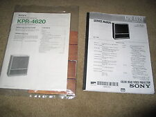 Sony Kpr-4620 Rear-Projection Tv Service and User's Manual and Rm-731 Remote