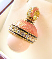SALE ! GENUINE CORAL RUSSIAN MADE OF STERLING SILVER 925 & 24K GOLD EGG PENDANT