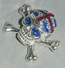 Great Britain Danger Skull Necklace Pendant [ 925 Sterling Silver & Zirconia ]