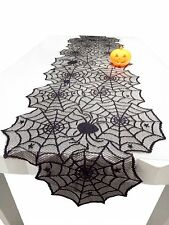 2pcs Halloween Decorations 18x72'' Black Lace Spiderweb Fireplace Mantle Scarf