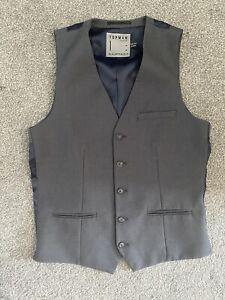Mens Grey And Navy Topman Wedding- Smart Work Waist Coat Size S