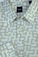 Hugo Boss Men's White Brown Gray Geometric Cotton Casual Shirt L Large