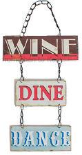 Vintage vin dine danse enchaînés suspendu métal mur porte plaque signe rétro fun