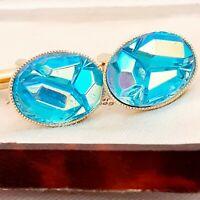 Beautiful Vintage 1960s Aqua Blue AB Art Glass - Oval Gold Plated Cufflinks