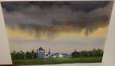 INDIA CASTLE ORIGINAL WATERCOLOR PAINTING SIGNED