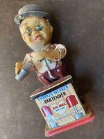 Rosko Toys Charlie Weaver Bartender Battery Op 1962 Display/Parts (not Working)