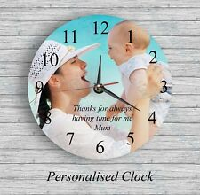 Personalised wall glass clock photo/text/numbers Mother's Day Valentine's Day