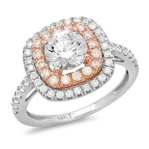 1.75 ct Round Halo Moissanite Promise Bridal Wedding Ring 14k two tone Gold