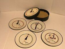 Santa Barbara Ceramics Shopping Girl Set 4 Dessert / Salad Plates Original Box