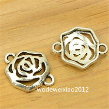 20pcs Tibetan Silver Rose Flowers Connectors Charm Beads Wholesale JP523