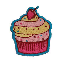 Pink Cupcake Frosting Cherry Cute Iron Sew On Patch Great for Craft Sewing Ideas