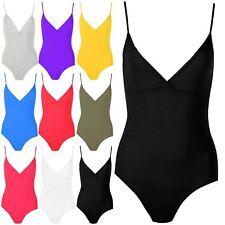 Ladies Womens Thin Strap Bodysuit V Neck Deep Cut Bralet Camisole Leotard Top