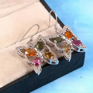 Natural Tourmaline Butterfly Dangle Earrings Statement 925 Sterling Silver