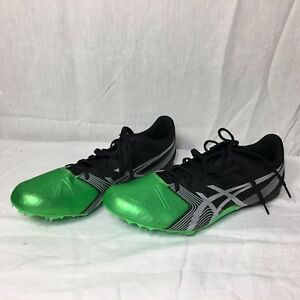 ASICS Mens Size 11.5 Track & Field Sprint Spikes Shoes Green Black Narrow