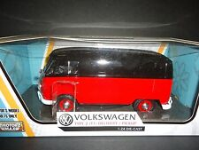 Motormax Volkswagen Type 2 T1 Delivery Red and Black 1/24